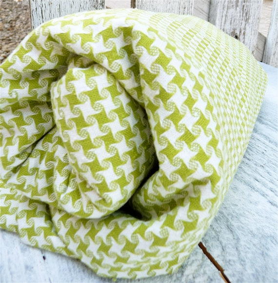 Vintage Lime Green and White Checkered Houndstooth Pattern Fabric, Over 3 yards