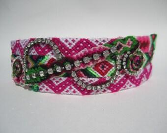 """Vintage Rhinestone Friendship Bracelet Cuff- """"Watermelon Freckles"""""""