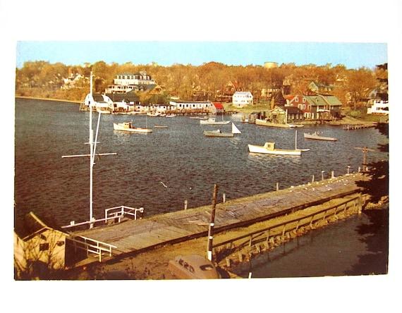 Nautical Maine Postcard 1950s York Harbor ME Vintage Boats