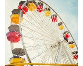 Santa Monica Pier Photo - Ferris Wheel - Carnival - Los Angeles Photo, Red, Yellow, Nursery Art, Sky Blue, Colorful, Lala Land, Up and Away