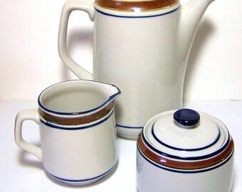 1960s COFFEE SET in Cobalt Blue & Brown - Georgetown Pattern (No LOnger Made) by Salem Stoneware