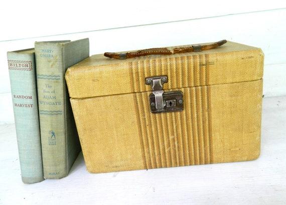 Vintage Train Case Tweed Luggage Suitcase