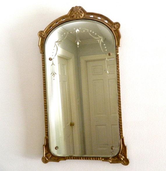 Vintage Etched Mirror Beveled Gesso Wood Frame