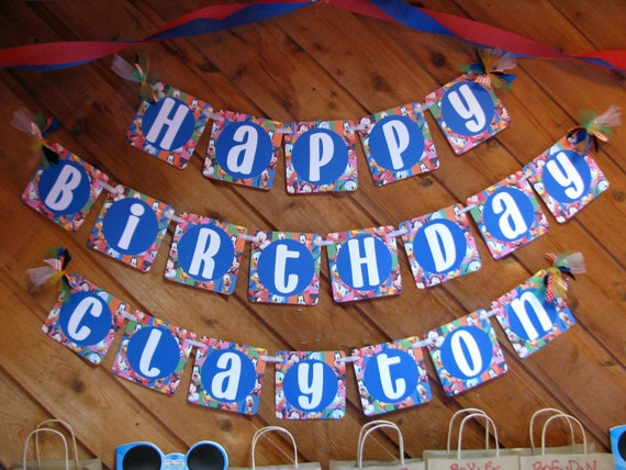 Mickey Mouse Themed Happy Birthday Celebration Banner for Party / Photo Backdrop / Dessert or Food Table