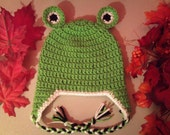 Baby Frog Earflap Hat - Crochet Newborn NB Beanie Boy Girl Costume Halloween Thanksgiving Photo Prop Cap Winter Outfit