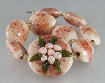 Handmade Lampwork Bead Set - Pink, Green Floral, SRA