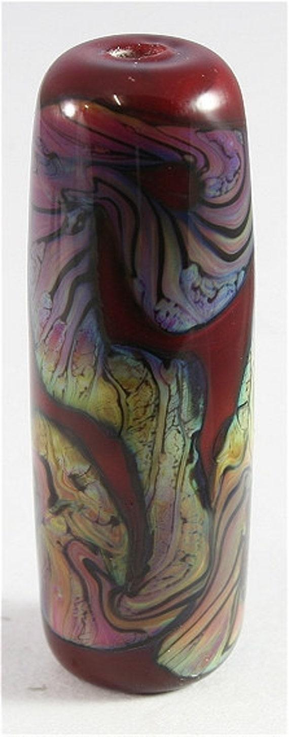 Handmade Lampwork Glass Bead SRA Red, Purple, Blue, Green, Black Focal LE Team, DUST Team