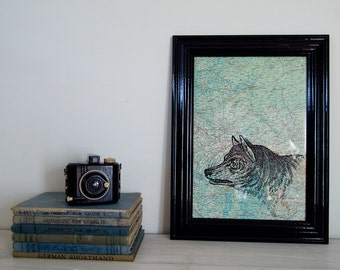 Framed Original Wolf Print on a Vintage Map of Eastern Europe, A4