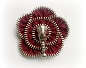 zipper brooch, creative jewelry, dark red  flower,  Zipper Pin. 2.8 in/ 7 cm,eco friendly, recycled jewelry