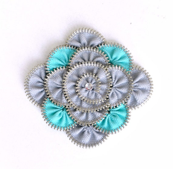 Unique gift for her, zipper brooch, Grey and cyan ,Zipper Pin. Approx 3.2 in/ 8 cm. eco friendly, recycled jewelry