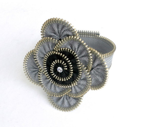 Unique gift, Zipper bracelet, Grey and black,  eco friendly, recycled jewelry