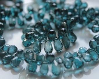 London Blue Topaz Faceted Tear Drop Briolettes, 6 - 7 mm, 6 beads GM3602FD/7/6