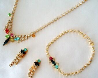 Vintage Jewelry 1960s European Swarovski Set Snowdrop Colored Stones Necklace Bracelet Earrings Pink Garnet Saphire Blue Yellow Orange Green