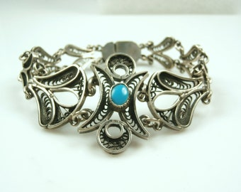 Vintage Sterling Silver Chinese Filigree  Bracelet with Turquoise, Antique Chinese Export