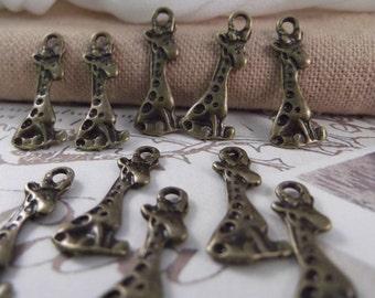 10pcs. Little Giraffe Charms --- Antique Bronze Color --- CHM - 089