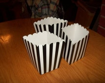 Mini Black Striped Popcorn .Boxes Movie Night, Party Set of 12