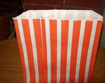 Orange Stripe Vertical Bitty Treat, Favor, Party, Bags Set of 20