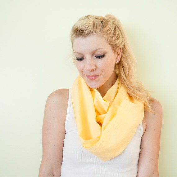 RESERVED for KAREN - infinity scarf cowl handdyed - Sunshine yellow - lightweight cotton