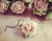 10 Pcs cream Paper Flowers HAND MADE Vintage Style Paper Rose Charm flowers Bouquet Roses 25x25x10mm
