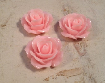 6 Pcs Light PINK Resin Flowers Vintage Style Plastic Rose Cabochon flowers Resin Roses 18x18x8mm