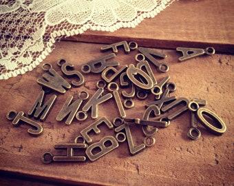 26 Pcs Vintage Style Monogram Letter Alphabet Initial Monogram Charms Antique Bronze K072