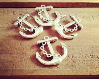 6 Pcs Anchor Charms Antique Silver Anchor Charm Nautical Charm Sailor Charm Small Pirate Vintage Style Pendant  Jewelry Supplies (BB170)