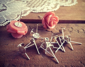 30 pcs Earring base setting SILVER Ornate Vintage style Ring base Jewelry supplies (S009)