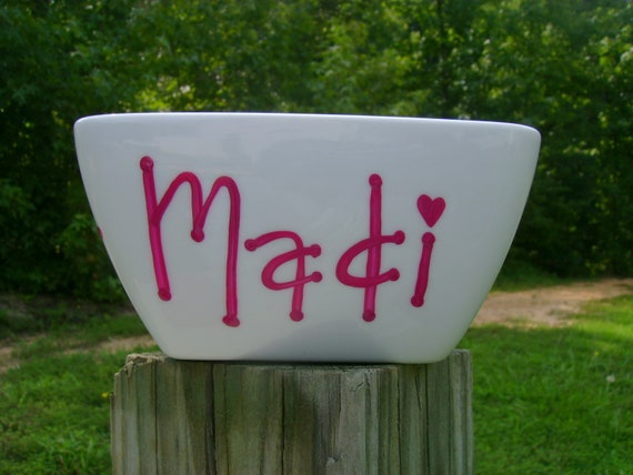 Personalized Ice Cream Bowl...Hand Painted...Great for cereal, ice cream and other treats...You choose colors/design