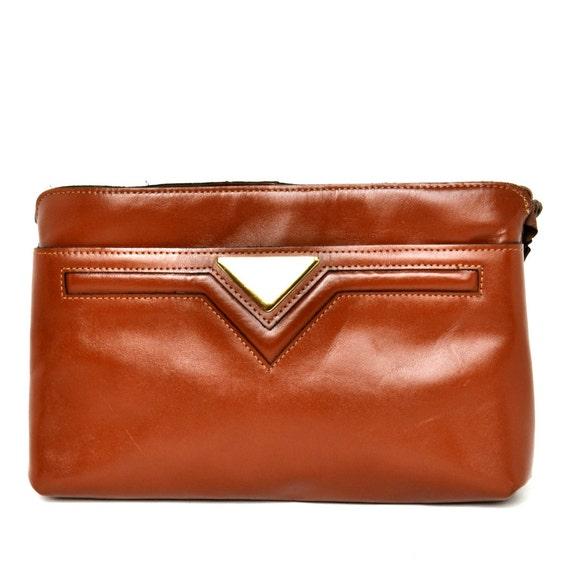Vintage 70s Brown Leather Clutch Wristlet