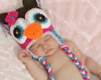 owl hat, crochet kids hat, crochet baby hat, custom colors available