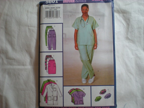 Butterick Pattern 5601 Scrubs Uniform Coat Top Skirt Pants and Hat Size  28W-32W