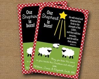 "Christmas Card DIY PRINTABLE ""Our Shepherd is Born"" Christian Scripture Christmas Bible Verse Christmas Card"