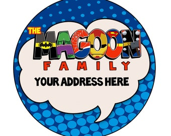 Personalized Superhero Return Address Labels- digital file