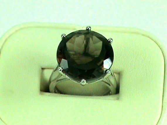 Full Moon Smokey Quartz 20 carat Solitaire Ring in full Display Sterling Silver Setting 18mm Round