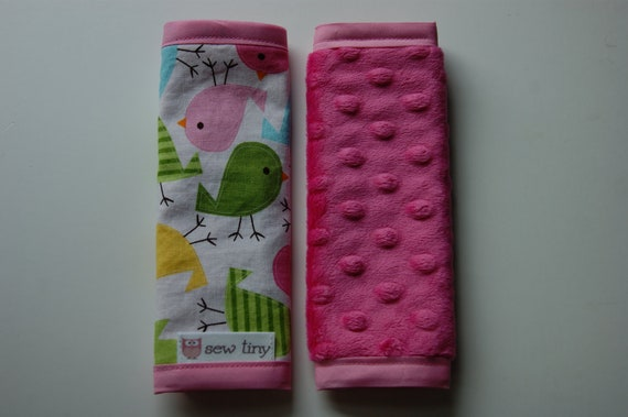 Ann Kelle Birds in Spring w/Hot Pink Dimple Dot Minky Car Seat Strap Covers