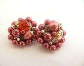 Pink and Silver Clip On Beaded and Faux Pearl Cluster Earrings Made in Japan