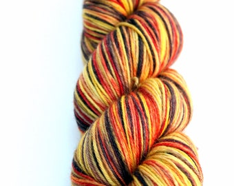 "Kettle Dyed Sock Yarn, Superwash Merino, Cashmere and Nylon Fingering Weight, in ""Indian Corn"""