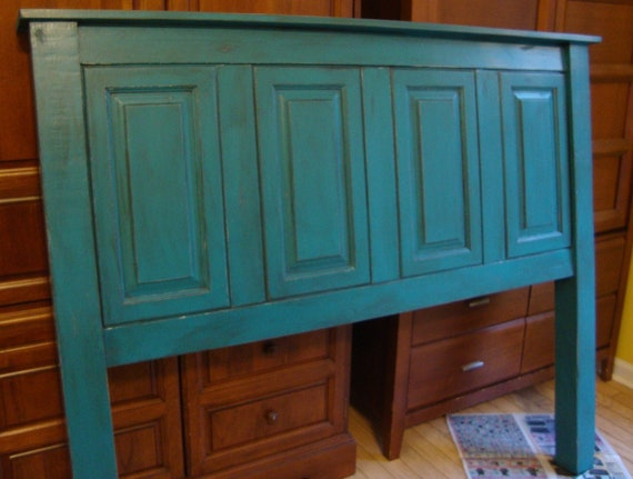 Headboard re purposed from old cabinets and new by youreunique - Cabinet made from old doors ...