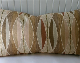 IN STOCK / Modern Lumbar Pillow Cover / 14 X 24 / Tan, rust, green, creme, brown texture upholstery with tan back