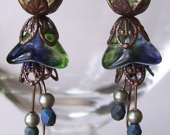 Blueberry Green Tea Flower Glass Earrings with Brass