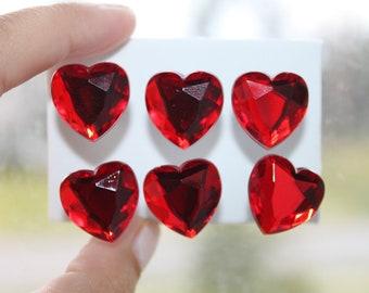 Sparkling Gem Larger Red Heart Push Pins/ Thumb Tacks Set of 6