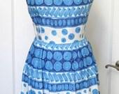 Vintage 1950's Italian Couture Turquoise Novelty Print Cotton Full Skirt Dress Sz XS