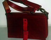 Red Italian Genuine Leather messenger bag