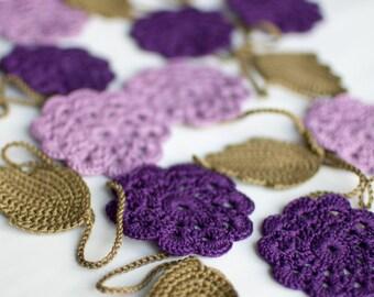Wedding garland - Crochet flower garland - Wedding Birthday Party Valentine decoration Photo prop - Lilac, purple