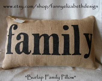 "Burlap ""family"" Pillow - Decorative Pillow- Burlap Pillows- Burlap- Housewarming Gift- Christmas gift- Pillow- family"