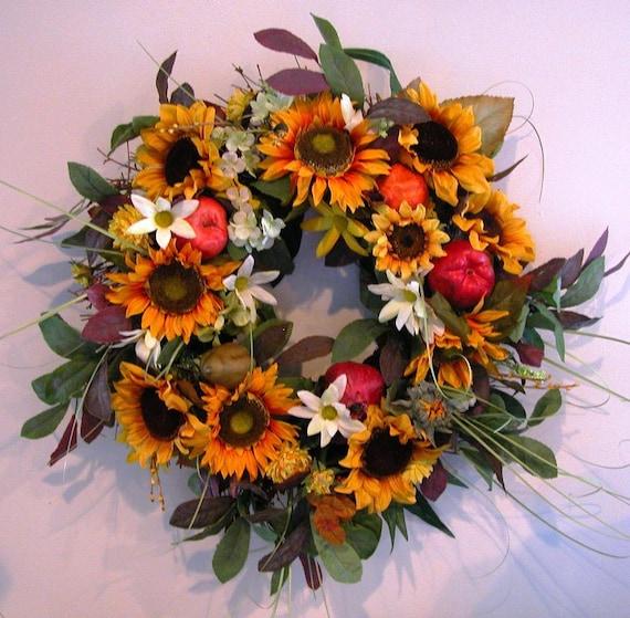 Fall Wreath FREE SHIPPING- Decorative Wreath- Sunflower Wreath- Accent Wreath- Door Wreath