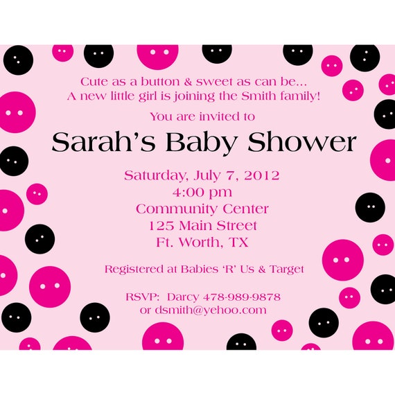 personalized baby shower buttons invitation digital printable
