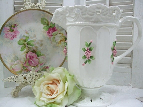 Decorative Pitcher with Pink Roses Vintage