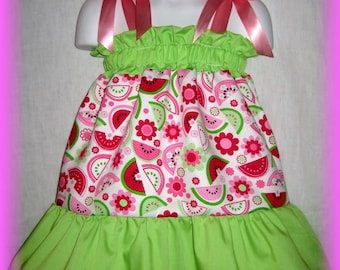 Watermelon & Flowers Boutique Pillowcase Dress w/ Solid Lime Green Layers
