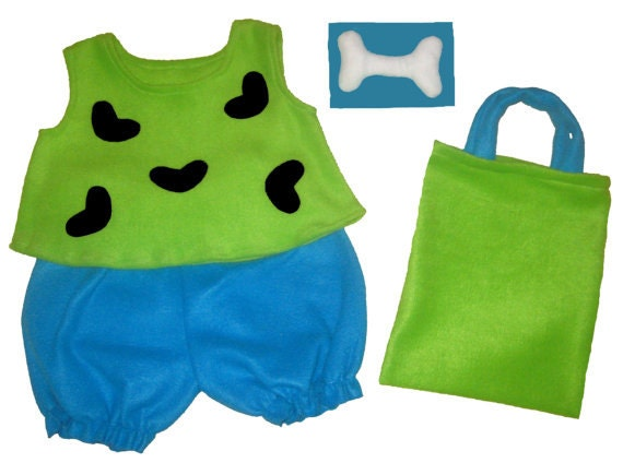 Size 24M/2T Halloween Costume Flintstones Pebbles Lime & Turquoise Set